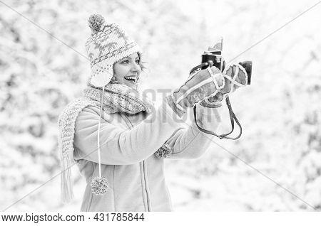 Holidays Concept. Capturing Winter. Take Stunning Winter Photos. Winter Hobby. Woman Photographer. I