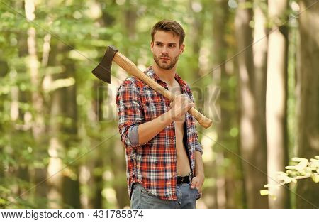 Sexy Male Woodcutter Hold Axe In Hands, Forest Life