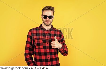 It Is Perfect. Well Groomed Hairstyle. Male Beauty And Fashion Look. Checkered Shirt For Bearded Guy