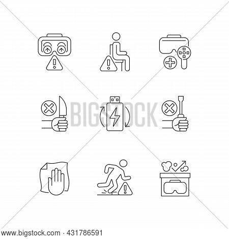 Virtual Reality Glasses Instructions Linear Manual Label Icons Set. Customizable Thin Line Contour S