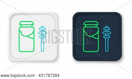 Line Jar Of Honey And Honey Dipper Stick Icon Isolated On White Background. Food Bank. Sweet Natural