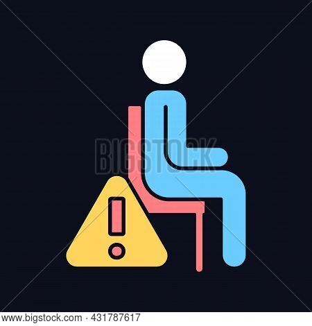 Remain Seated Rgb Color Manual Label Icon For Dark Theme. Avoid Injuries. Isolated Vector Illustrati