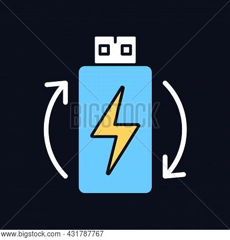 Rechargeable Lithium Ion Battery Rgb Color Manual Label Icon For Dark Theme. Isolated Vector Illustr