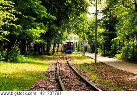 Kyiv, Ukraine-august 22, 2021: Children's Train On The S Track In Park In Beautiful Sunny Day. Kyiv