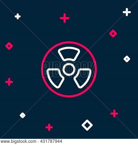 Line Radioactive Icon Isolated On Blue Background. Radioactive Toxic Symbol. Radiation Hazard Sign.
