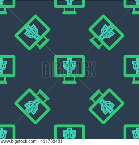 Line Online Psychological Counseling Distance Icon Isolated Seamless Pattern On Blue Background. Psy