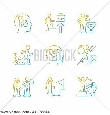 Strong Motivation Gradient Linear Vector Icons Set. Accomplish Goal. Desire For Recognition And Appr