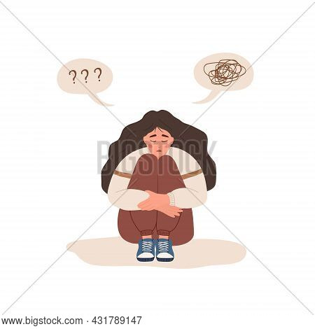 Mental Health Concept. Lonely Woman Sitting On Floor And Hugging Knees. Depressed Teenager Needs Psy