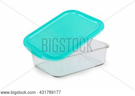 Close Up Of Glass Food Containers Isolated On White Background