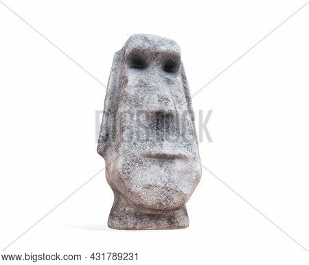 Stylized Stone Figurine In The Form Of A Head With A Face On A Black Background. 3d Rendering