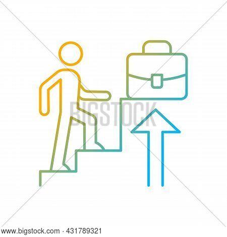Promotion Gradient Linear Vector Icon. Career Raise As Motivation. Worker Advancement As Reward. Com