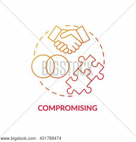 Compromising Red Gradient Concept Icon. Strategy To Resolving Problems. Mutual Agreement. Conflict M
