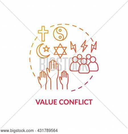 Value Conflict Red Gradient Concept Icon. Disagreement About Personal Beliefs And Religion. Conflict