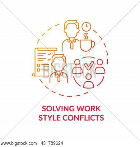 Solving Work Style Conflict Red Gradient Concept Icon. Resolving Workplace Arguments. Conflict Manag