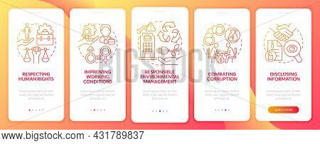 Csr Issues Red Gradient Onboarding Mobile App Page Screen. Company Responsibility Walkthrough 5 Step