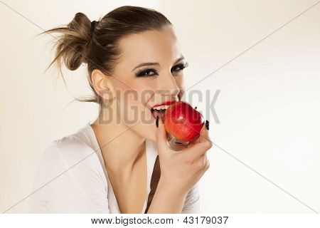 girl, and red apple
