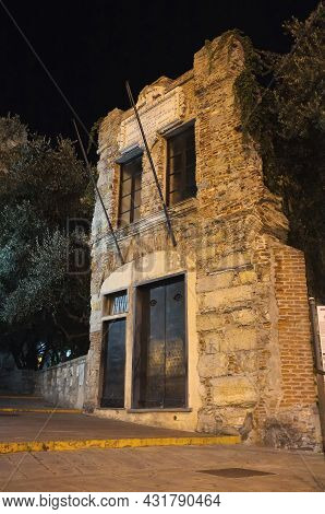 Genoa, Italy - 08 29 2012: Christopher Columbus Home And Birthplace At Night