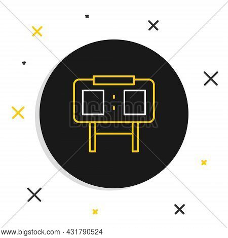 Line Sport Mechanical Scoreboard And Result Display Icon Isolated On White Background. Colorful Outl