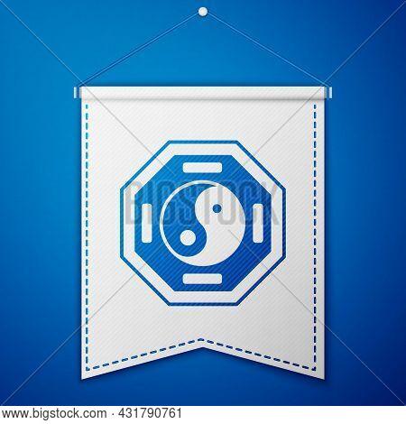 Blue Yin Yang Symbol Of Harmony And Balance Icon Isolated On Blue Background. White Pennant Template