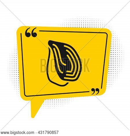 Black Mussel Icon Isolated On White Background. Fresh Delicious Seafood. Yellow Speech Bubble Symbol
