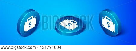 Isometric Briefcase And Money Icon Isolated On Blue Background. Business Case Sign. Business Portfol