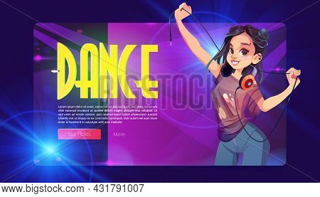 Dance Party Banner With Girl Dj With Headphones. Vector Landing Page Of Discotheque Or Music Show Wi