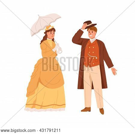 American Man And Woman Of 19th Century. Noble People In Vintage Clothes. Gentleman With Hat Off Gree