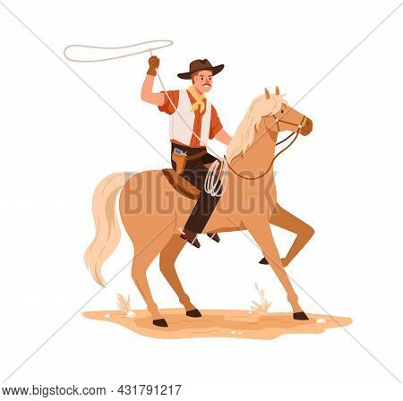 Western Cowboy In Hat Riding Horseback. Wild West Horseman On Horse Back With Lasso In Hand. America