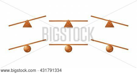 Wooden Seesaw, Kids Swing Of Board On Triangle Or Circle Stand. Vector Cartoon Set Of Unbalanced And