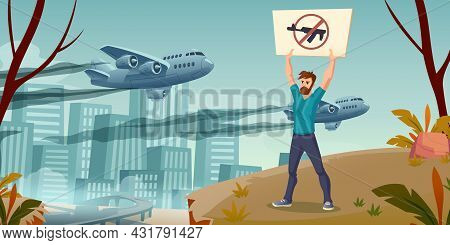 Save The World Concept, Man With Crossed Gun Banner Stand Alone On Cityscape Background With Militar