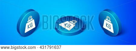 Isometric Weight Icon Isolated On Blue Background. Kilogram Weight Block For Weight Lifting And Scal