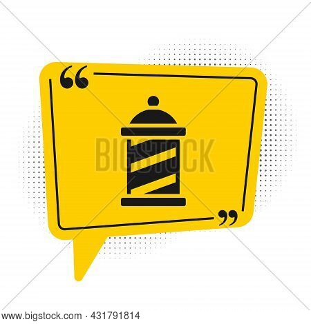 Black Classic Barber Shop Pole Icon Isolated On White Background. Barbershop Pole Symbol. Yellow Spe
