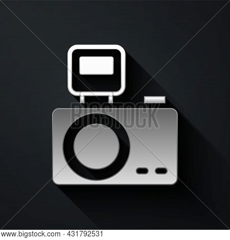 Silver Photo Camera With Lighting Flash Icon Isolated On Black Background. Foto Camera. Digital Phot