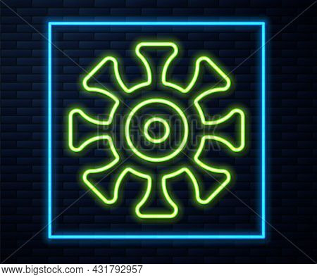 Glowing Neon Line Bacteria Icon Isolated On Brick Wall Background. Bacteria And Germs, Microorganism