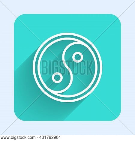 White Line Yin Yang Symbol Of Harmony And Balance Icon Isolated With Long Shadow. Green Square Butto