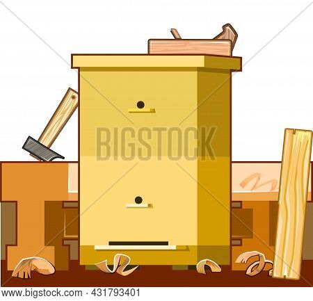Make And Repair Hives. Service Beekeeping Carpenters Workshop. Manufacturing To Order. Flat Style. B