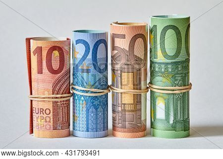 Ten, Twenty, Fifty And One Hundred Euro Bill Rolled Up As A Tubule. Euro Banknotes Details In A Macr