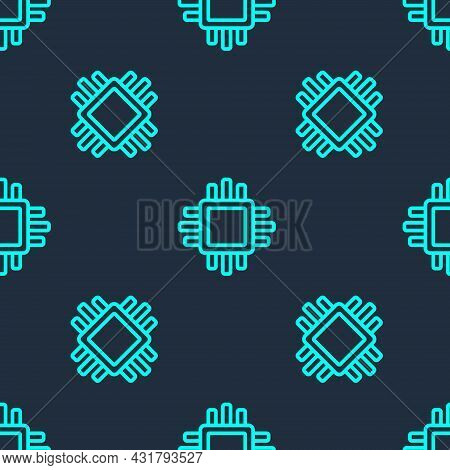 Green Line Computer Processor With Microcircuits Cpu Icon Isolated Seamless Pattern On Blue Backgrou
