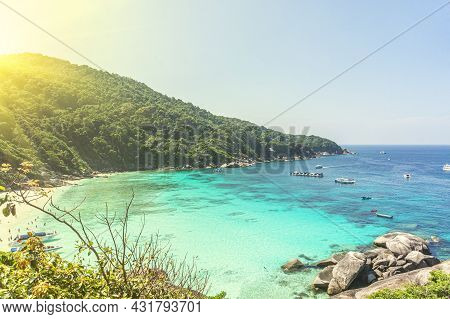 A Beautiful Lagoon Of The Blue Sea Near The Coast With Mountains. A Tourist Beach With White Sand.