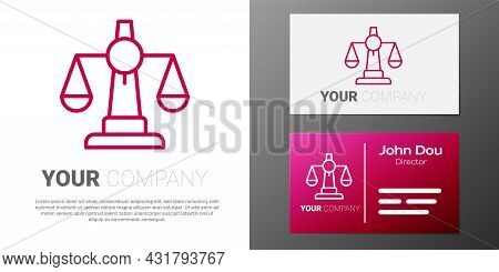 Logotype Line Scales Of Justice Icon Isolated On White Background. Court Of Law Symbol. Balance Scal