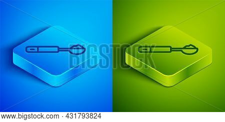 Isometric Line Measuring Spoon Icon Isolated On Blue And Green Background. Square Button. Vector