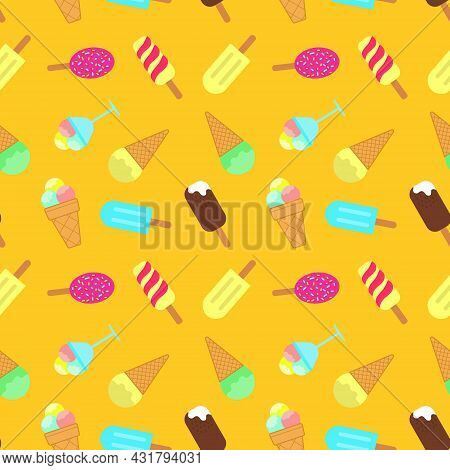 Ice Cream Seamless Pattern. Popsicle, Scoop Of Ice Cream In A Vase, Chocolate Ball Icing Waffle Cup.