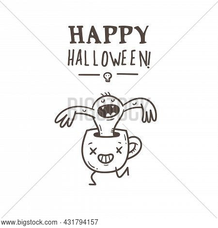Halloween Card With Cute Cartoon Monsters. Holiday Poster With Spooky Characters. Vector Contour Doo