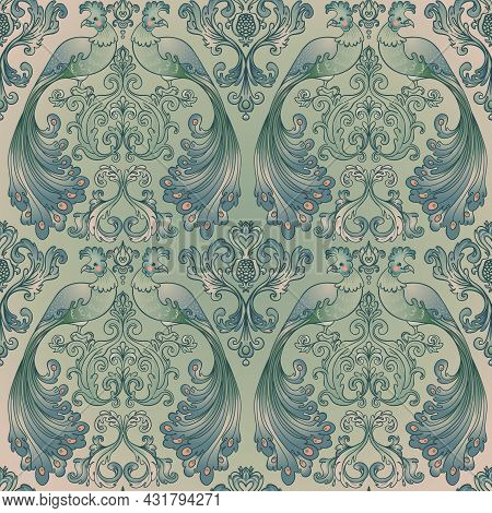 Floral Vintage Seamless Pattern Wit Birds For Retro Wallpapers. Enchanted Vintage Flowers. Arts And