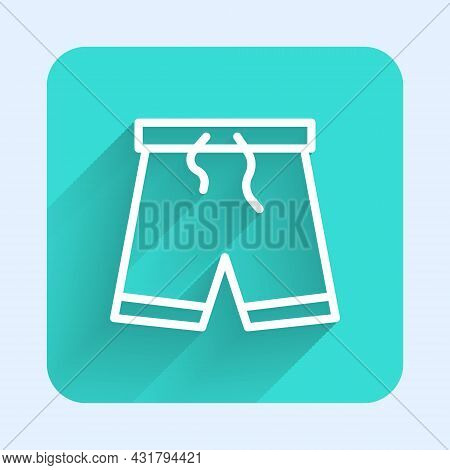 White Line Swimming Trunks Icon Isolated With Long Shadow. Green Square Button. Vector