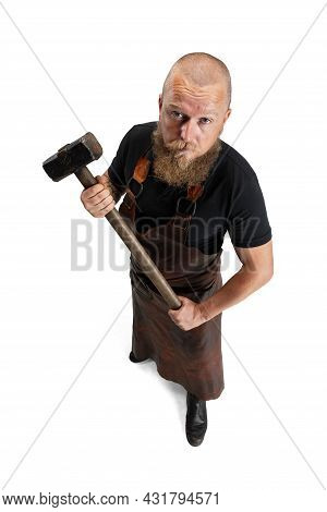 High Angle View Of Bearded Bald Man, Blacksmith Wearing Leather Apron Or Uniform Isolated On White S