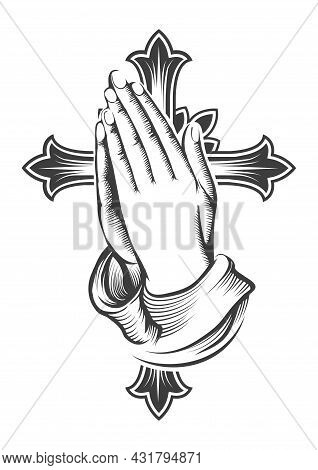 Tattoo Of Praying Hands Against Cross Isolated On White