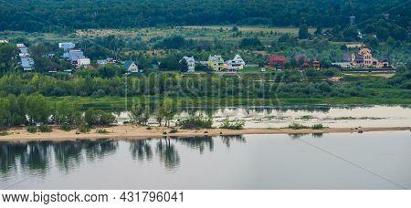 Panoramic View Of The Village Of Kokshaisk And Mouth Of The Bolshaya Kokshaga River From The Opposit