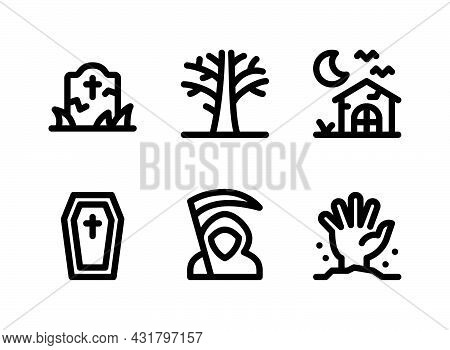 Simple Set Of Halloween Related Vector Line Icons. Contains Icons As Tombstone, Dead Tree, Haunted H