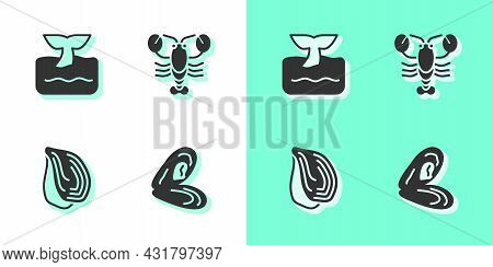Set Mussel, Whale Tail In Ocean Wave, And Lobster Icon. Vector